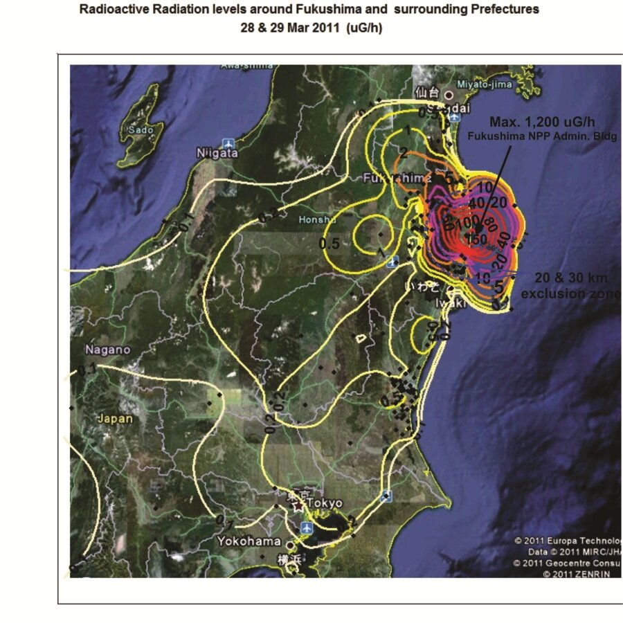 Radioactive Radiation Map Of Fukushima And Surrounding Provinces - Japan map radiation